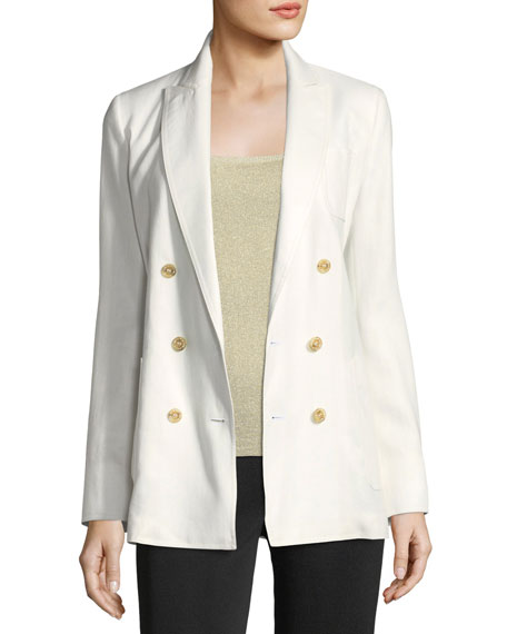 Double-Breasted Linen Blazer in White