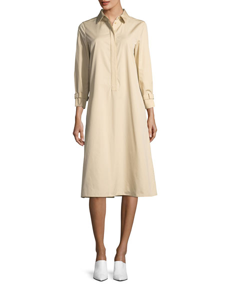 Bracelet-Sleeve Cotton Shirtdress