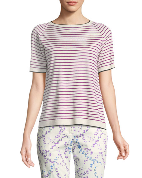 Striped Knit Short-Sleeve Top