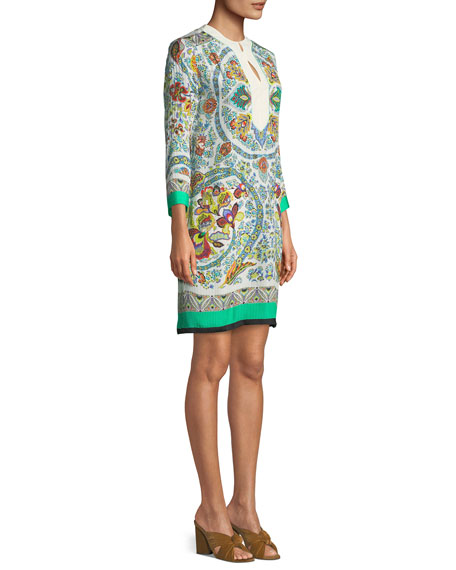 Lily Floral-Print Split-Neck Shift Dress