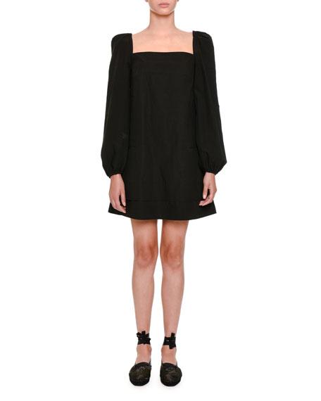 Long-Sleeve Square-Neck Babydoll Dress