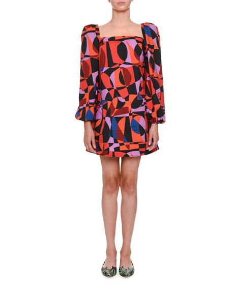 Geometric-Pattern Babydoll Dress