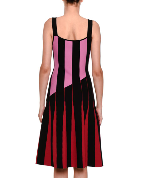 Sleeveless Flared Stripe-Knit Dress