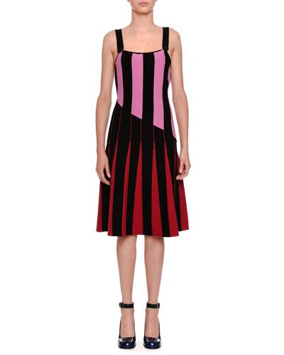 Sleeveless Flared Stripe-Knit Dress