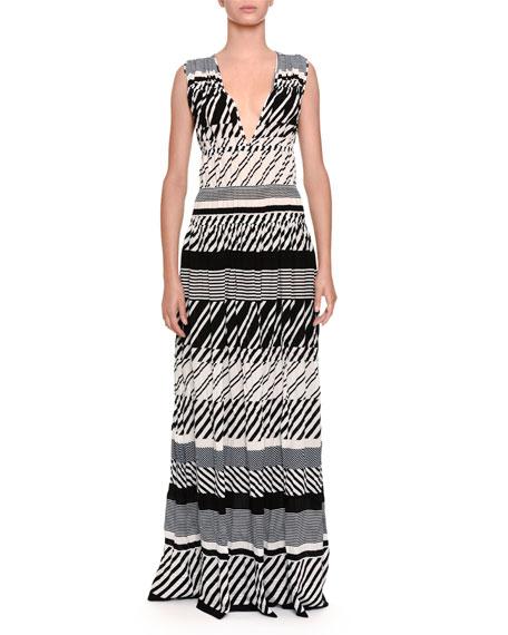 Striped Knit V-Neck Maxi Dress