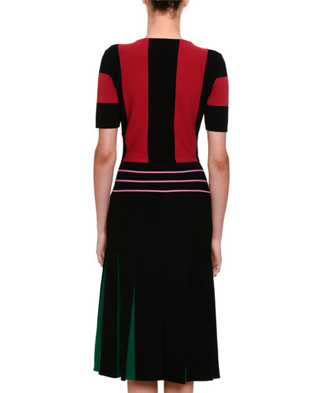 Short-Sleeve Block-Stripe Dress