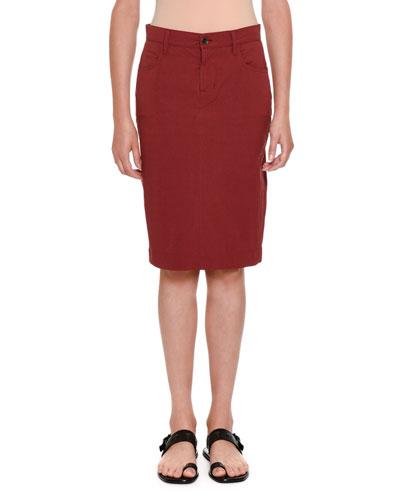 Stretch-Cotton Pencil Skirt