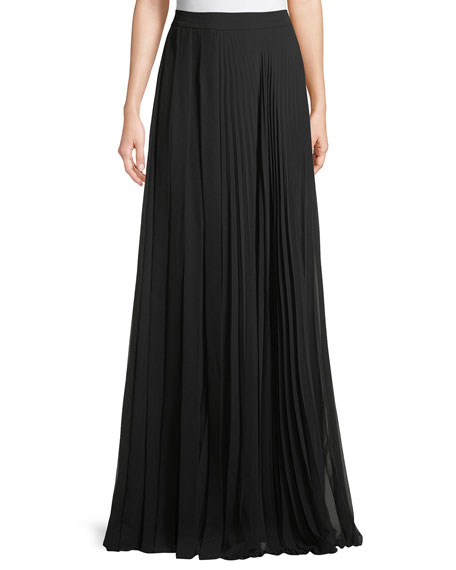 Pleated Georgette Maxi Skirt
