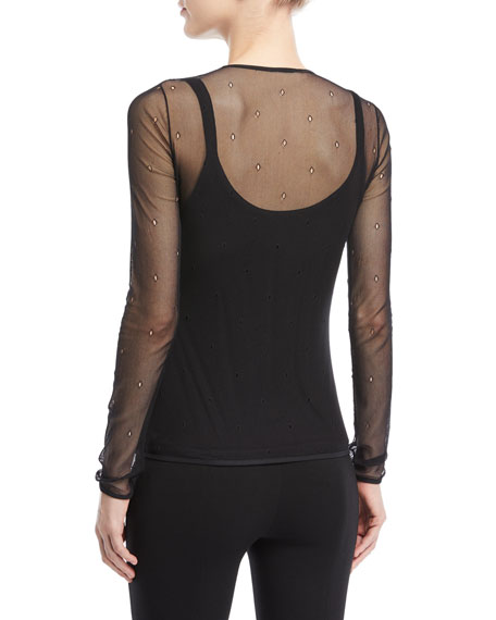 Sheer Mesh Crewneck Top