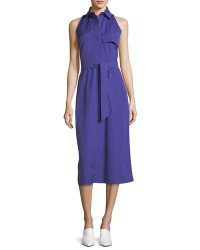 Sleeveless Cotton Midi Shirtdress, Medium Blue