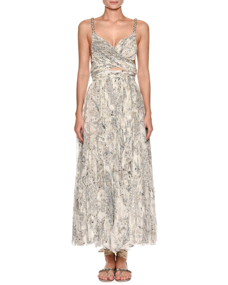 Sweetheart-Neck Beaded-Strap Printed Silk Dress with Slit Midriff