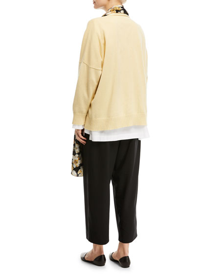 Hand-Loomed Cashmere/Cotton Button Front Cardigan