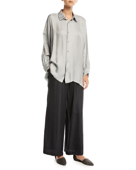 Embroidered Effect Silk Jacquard Flared Trousers