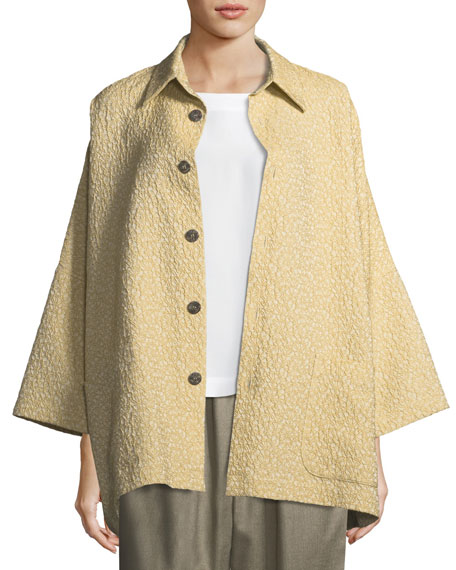 Slope-Shoulder Button-Front Jacket