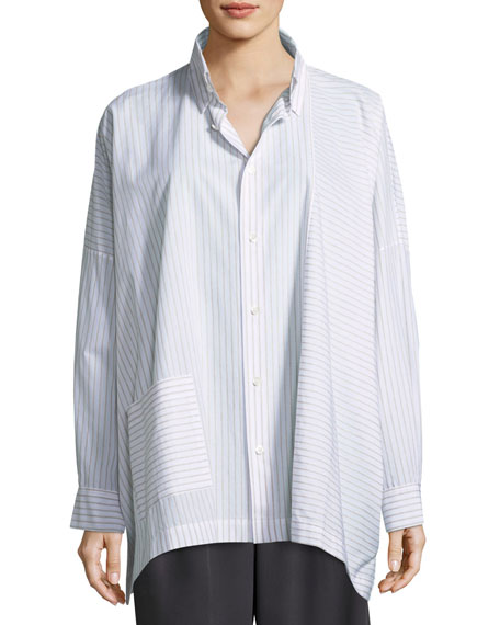 Stitch Striped Cotton Paneled Shirt