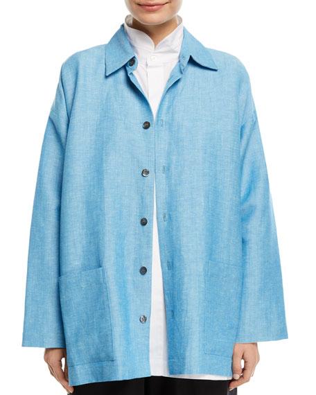 Lightweight Linen/Wool Slim A-Line Jacket