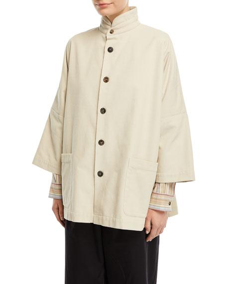 Slope-Shoulder Stand-Collar Jacket