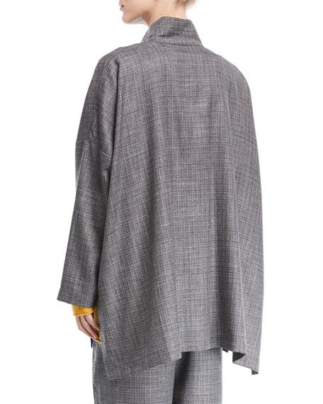 Wool-Blend Button-Front Jacket
