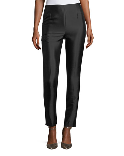 Cropped Flat-Front Silk-Wool Pants