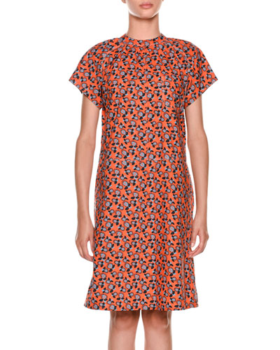 Short-Sleeve Floral-Print Cotton Dress