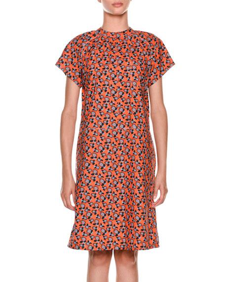 Short-Sleeve Floral-Print Cotton Dress