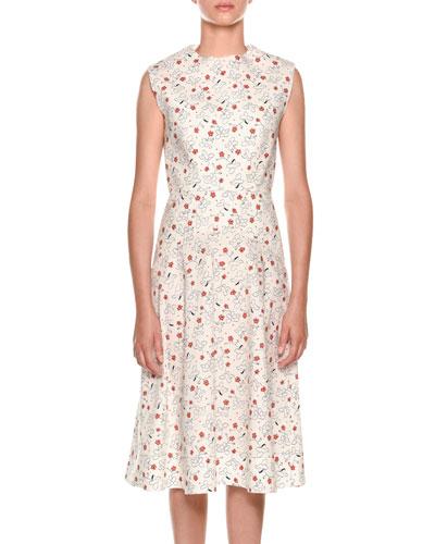 Sleeveless Poppy-Print Dress