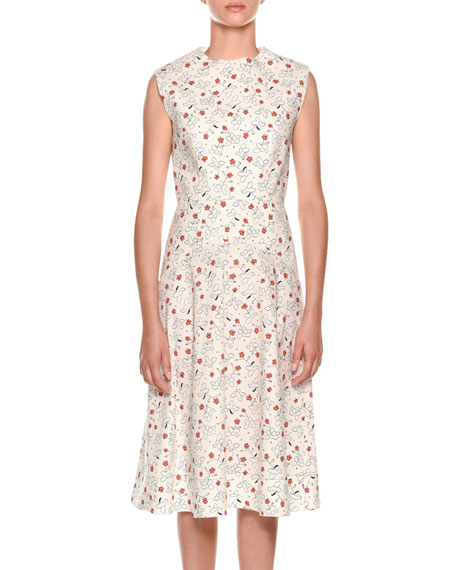Sleeveless Poppy-Print Dress