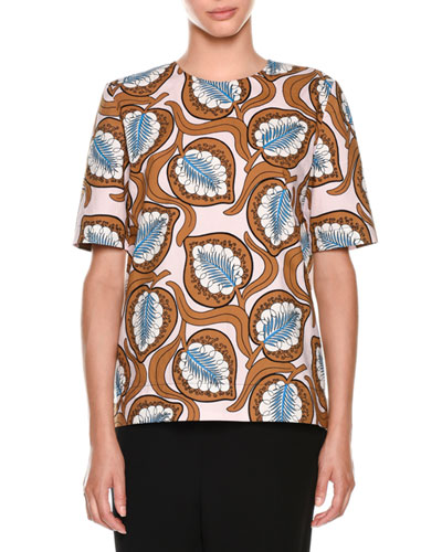Short-Sleeve Leaf-Print Top