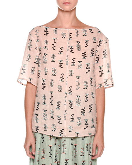 Short-Sleeve Vine-Print Top