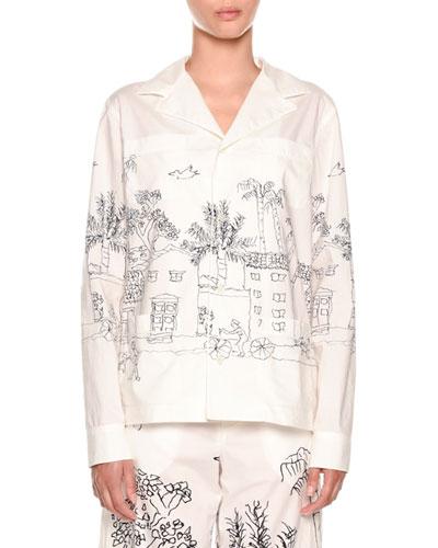 Landscape-Print Pajama Top
