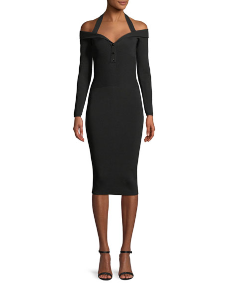 Laia V-Neck Long-Sleeve Fitted Knit Cocktail Dress