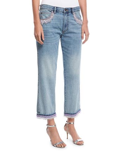 Beaded Crop-Leg Jeans