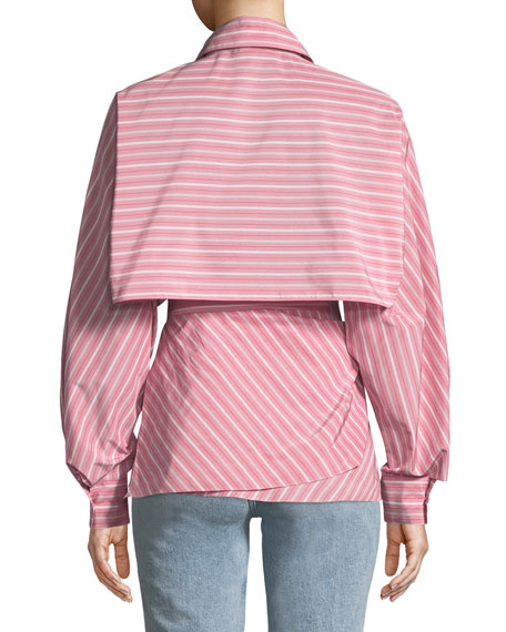 Striped Cape-Back Taffeta Poplin Blouse