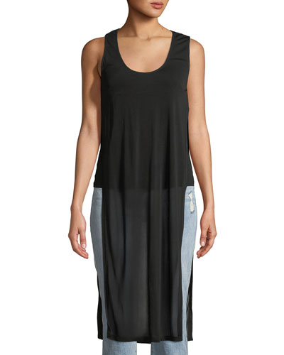 Long Split Jersey Tank Top
