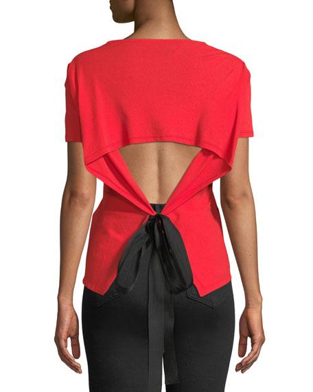 Short-Sleeve Tie-Waist Top w/Open Back