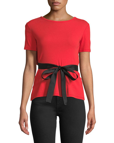 Short-Sleeve Tie-Waist Top w/Open Back