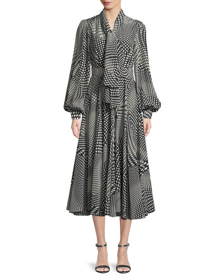 Optical Dots Tie-Collar Blouson-Sleeve Silk Dress with Belt