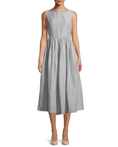 High-Neck Sleeveless Linen-Silk Midi Dress