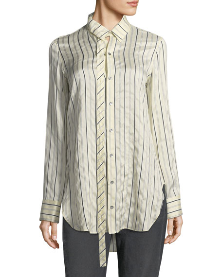 Pinstriped Silk Blouse