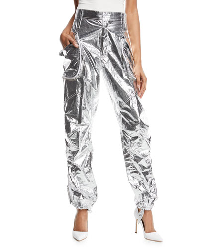 Giovanna Metallic Tie-Cuff Pants
