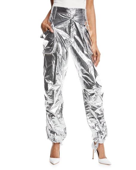Giovanna Metallic Tie-Cuff Pants