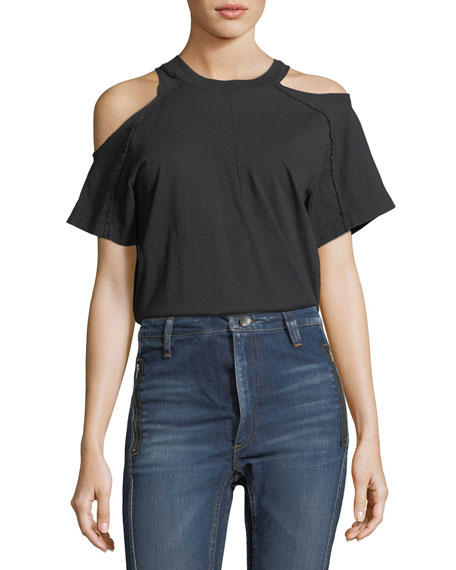 Crewneck Cold-Shoulder T-Shirt