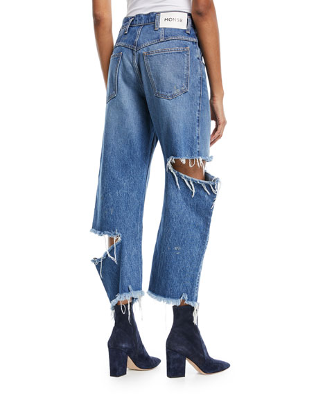 Cropped Broken Leg Denim Jeans