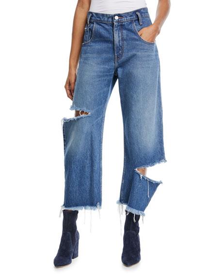 Cropped Broken Leg Denim Jeans