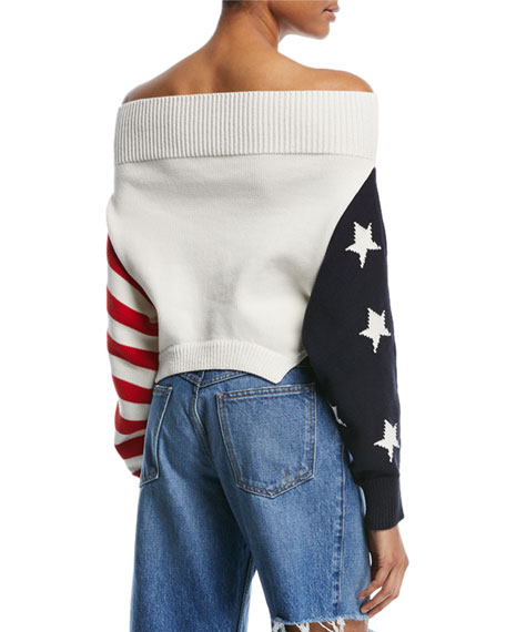 Off-Shoulder Knit Flag Sweater