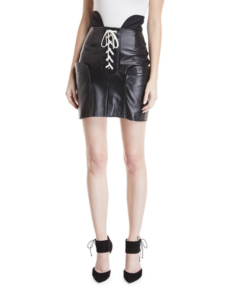Lace-Up Leather Skirt