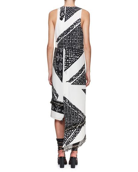 Pavilion Sleeveless Bandana-Print Silk Midi Dress