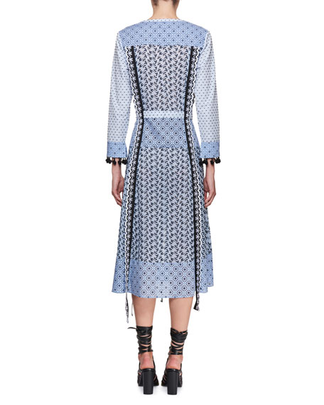 Grenelle Long-Sleeve Broderie Anglaise Midi Dress