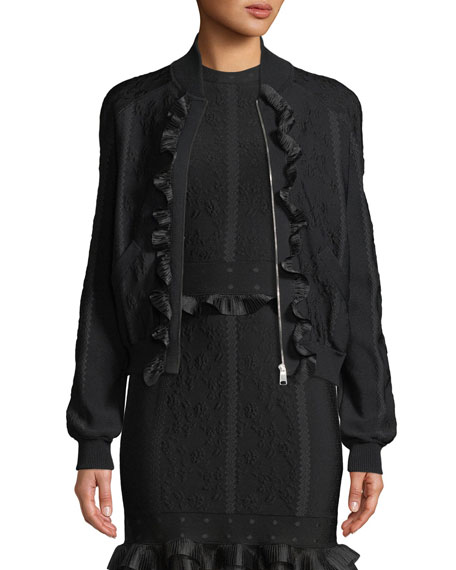 Alexander McQueen Cage Jacquard Zip-front Bomber Jacket with