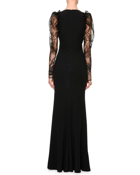 Lace-Sleeve V-Neck Column Gown